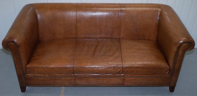 English Ralph Lauren Brompton 3-Seat Vintage Brown Heritage Leather Sofa For Sale