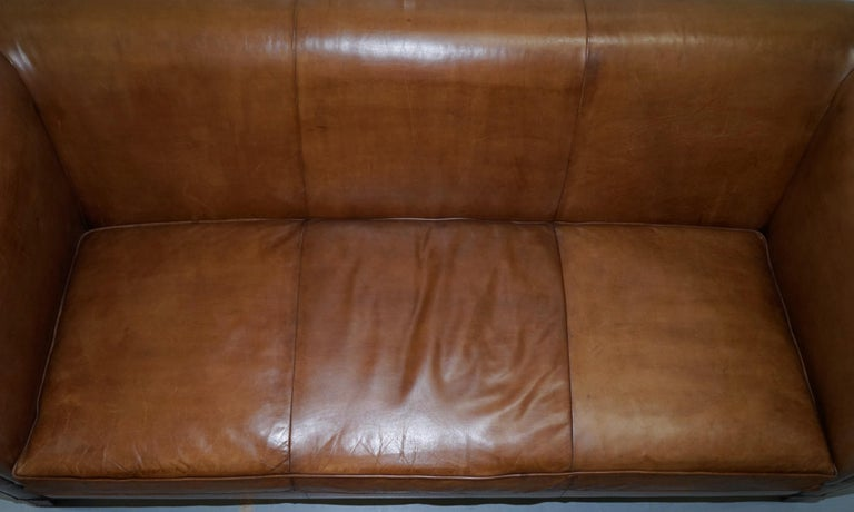 Contemporary Ralph Lauren Brompton 3-Seat Vintage Brown Heritage Leather Sofa For Sale