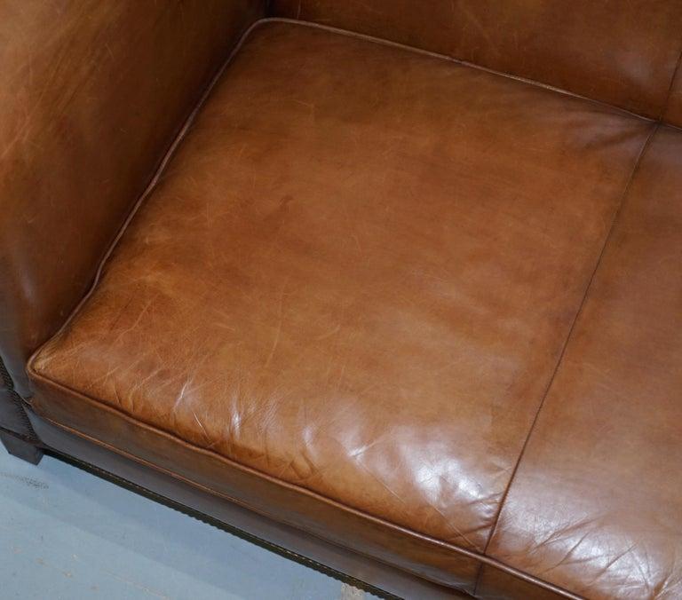 Mahogany Ralph Lauren Brompton 3-Seat Vintage Brown Heritage Leather Sofa For Sale