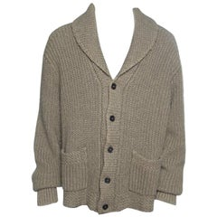 Ralph Lauren Brown Chunky Cable Knit Shawl Collar Cardigan XL