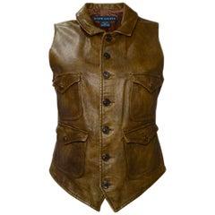 Ralph Lauren Brown Distressed Leather Four-Pocket Button Down Vest sz 10