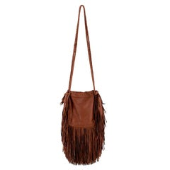 Ralph Lauren Brown Leather Crossbody Tassel Bag