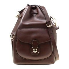 Ralph Lauren Brown Leather Ricky Drawstring Bucket Bag