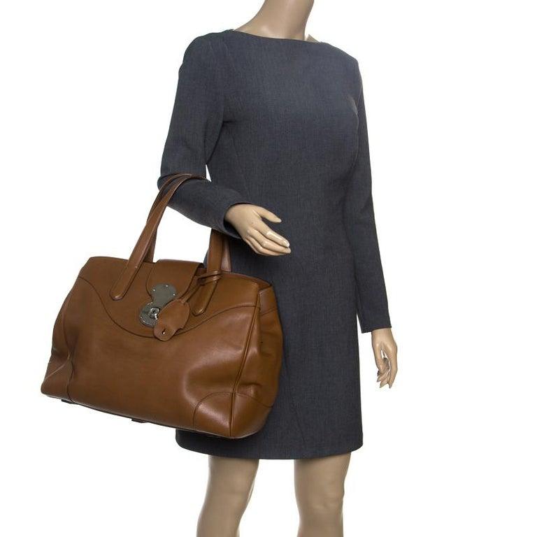 Ralph Lauren Brown Leather Ricky Tote In Excellent Condition For Sale In Dubai, Al Qouz 2