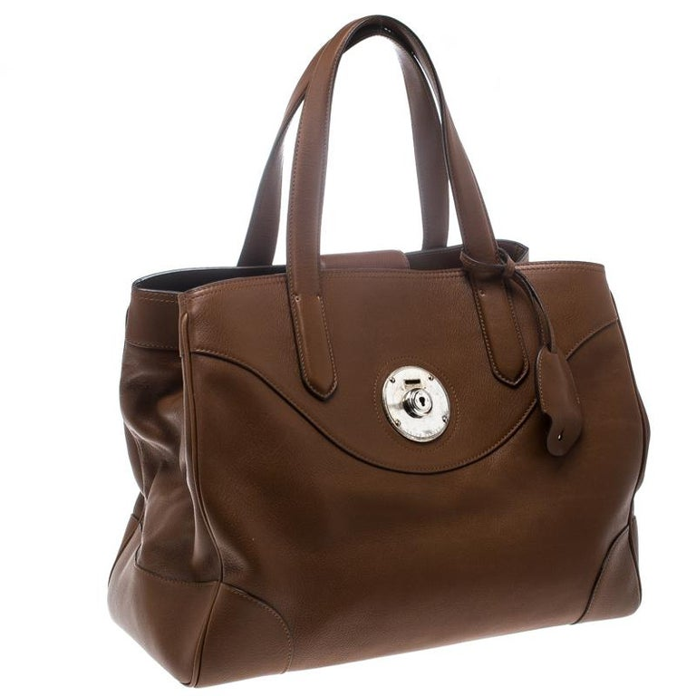 Women's Ralph Lauren Brown Leather Ricky Tote For Sale