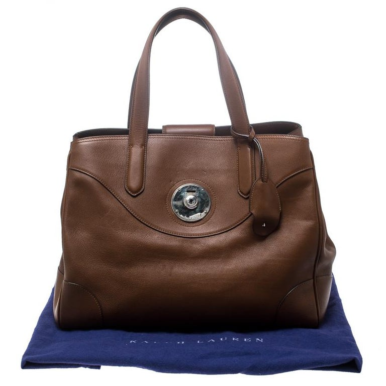 Ralph Lauren Brown Leather Ricky Tote For Sale 7