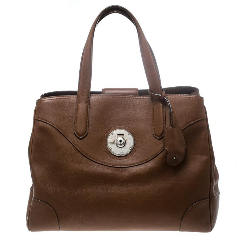 Ralph Lauren Brown Leather Ricky Tote For Sale