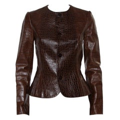 Ralph Lauren Brown Leather Roundneck Jacket M