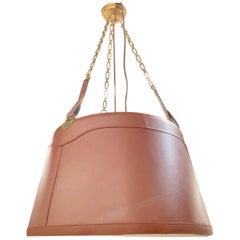 Ralph Lauren Brown Leather Three-Light Drum Chandelier