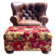 Ralph Lauren Brown Leather Writer's Lounge, Armchair, Red Velvet Floral Ottoman