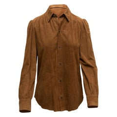 Ralph Lauren Brown Suede Button-Up Top