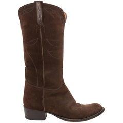 Ralph Lauren Brown Suede Cowboy Boots