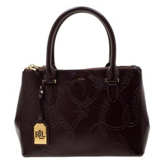 Ralph Lauren Burgundy Engraved Leather Tote