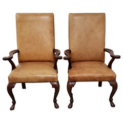 Ralph Lauren Carved Mahogany and Leather Upholstered Armchairs with Hoofed Feet