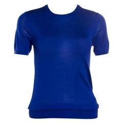 Ralph Lauren Cobalt Blue Silk Knit Short Sleeve Top S