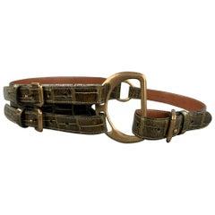 RALPH LAUREN Collection 2006 Waist Size L Brown Alligator Double Buckle Belt