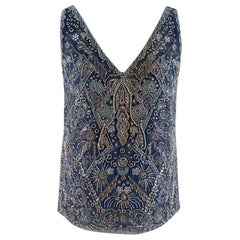 Ralph Lauren Collection Blue Silk Embellished Top - Size US 2