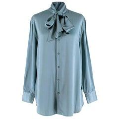 Ralph Lauren Collection Blue Silk Tie-Neck Blouse - Size US 6