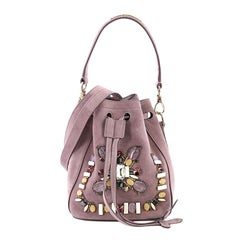 Ralph Lauren Collection Drawstring Bucket Bag Crystal and Bead Embellished Suede