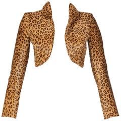 Ralph Lauren Collection Leopard Shearling Cropped Bolero Jacket
