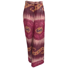 Ralph Lauren Collection Silk Ikat Printed Wide Leg Trouser