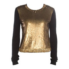 Ralph Lauren Collection Silk Knit Sequined Panel Front Crew Neck Sweater S