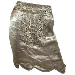 Ralph Lauren Collection Silver Lamé Embellished Skirt