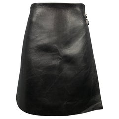 RALPH LAUREN COLLECTION Size 10 Black Leather A-Line Skirt