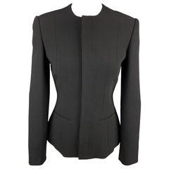 RALPH LAUREN Collection Size 2 Black Wool Hidden Buttons Jacket