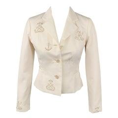 RALPH LAUREN Collection Size 4 White Cotton Jacket Blazer