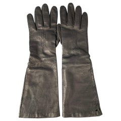 RALPH LAUREN Collection Size 8 Black Leather Long Gloves
