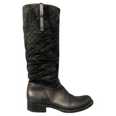 RALPH LAUREN Collection Size 9 Black Quilted Suede Slip On Riding Boots