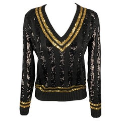 RALPH LAUREN Collection Size M Black & Gold Sequined Striped Silk Sweater