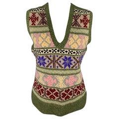 RALPH LAUREN Collection Size M Multi-Color Hand Knit Cashmere / Wool Vest