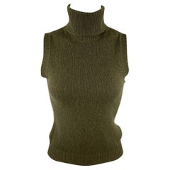 RALPH LAUREN COLLECTION Size S Olive Knitted Cashmere Sleeveless Pullover