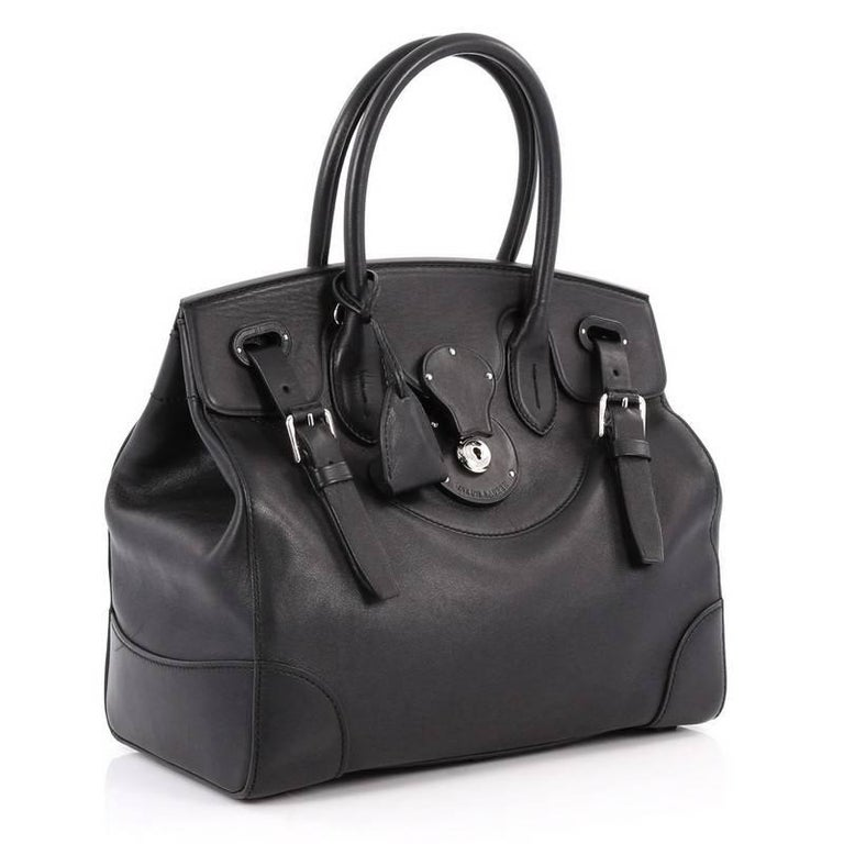 1293cd511a Black Ralph Lauren Collection Soft Ricky Handbag Leather 33 For Sale