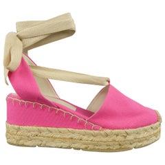 RALPH LAUREN COLLLECTION Size 10 Pink Canvas Ankle Strap Espadrille Wedges