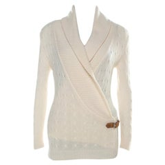 Ralph Lauren Cream Cable-Knit Cashmere Shawl Collar Strap Detail Jumper M