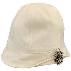 RALPH LAUREN Cream Patricia Underwood 20's Style RHinestone Brooch Cap