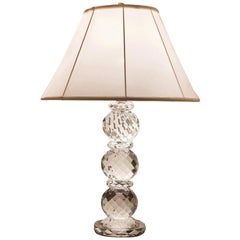 Ralph Lauren Crystal Faceted Table Lamp with White Silk Lampshade