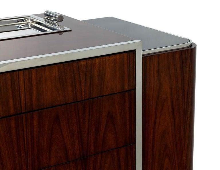 Stainless Steel Ralph Lauren Duke Bar Cabinet For Sale