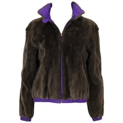 Ralph Lauren Espresso Sheared Mink and Purple Reversible Bomber Jacket