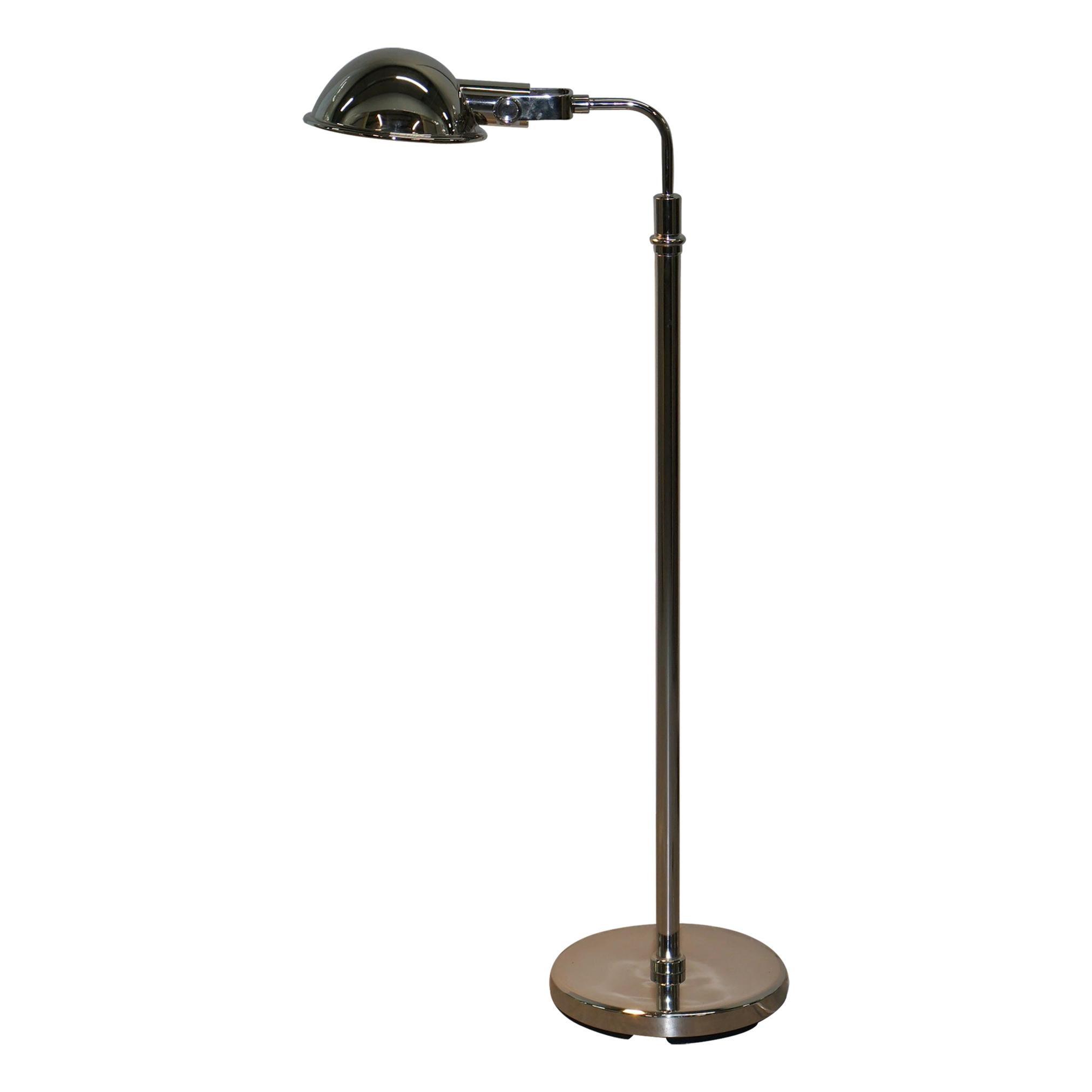 Ralph Lauren Fairfield Pharmacy Chrome Floor Standing Height Adjustable Lamp