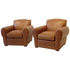 Ralph Lauren for Henredon French Art Deco Style Leather Club Chairs 4 Available