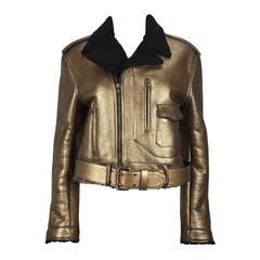 Ralph Lauren Gold Leather Black Shearling Moto Jacket
