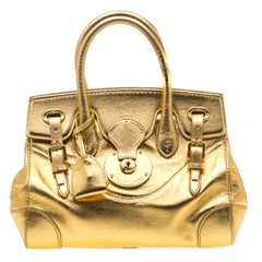 Ralph Lauren Gold Leather Ricky 27 Tote
