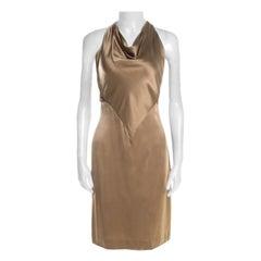 Ralph Lauren Gold Satin Draped Cowl Neck Halter Mini Dress M