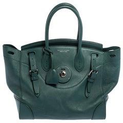 Ralph Lauren Green Leather Medium Ricky Tote