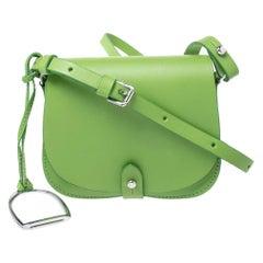 Ralph Lauren Green Leather Saddle Crossbody Bag