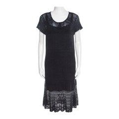Ralph Lauren Grey Crochet Hand Knit Cap Sleeve Dress XL